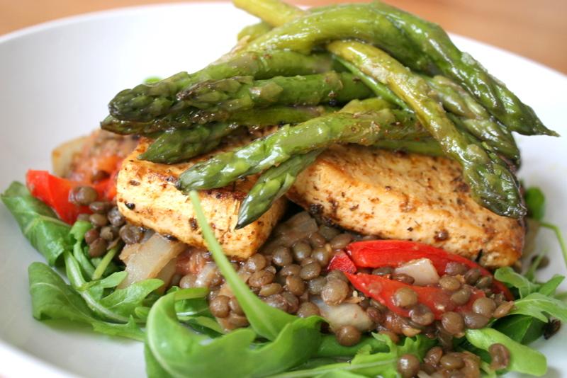Tofu Steaks with Green Lentil Salad on a Bed of Rocket -